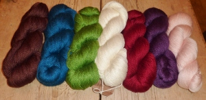 Deep Chestnut, Teal, Jens Green, Natural, Cherry, Purple & Baby Pink 4ply