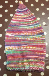 A Wee Willie Winky hat shop sample in the new Baby Crofter