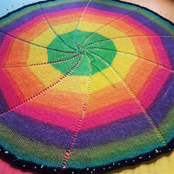 Leftfootdaisy-rainbow-pinwheel-baby-blanket-blocking