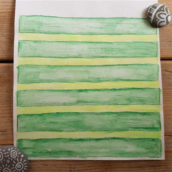 leftfootdaisy-colour-exploration-tapestry-weaving-green-stripes-cartoon