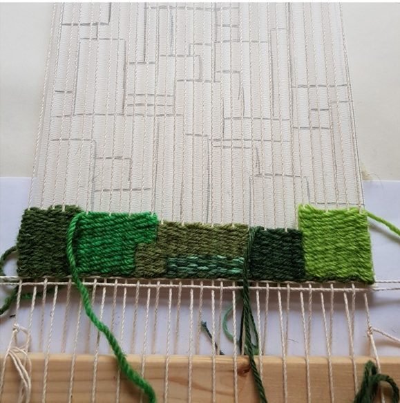 leftfootdaisy-colour-exploration-tapestry-weaving-week-one-progress-shot